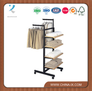Customized Clothing Display Rack with 4 Shelves and 2 Hangrails pictures & photos