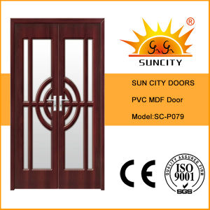 Double Door Leaf Glass PVC MDF Doors for Balcony (SC-P079) pictures & photos