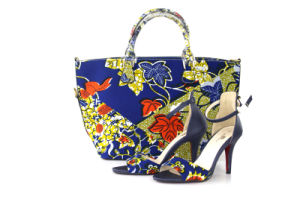 New Design Fashion African Printed High Heeled Ladies Shoes with Bags (Y 62)