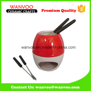 New Arrivals Ceramic Chocolate Cheese Fondue Pot pictures & photos