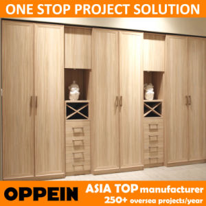 Oppein Melamine Wood Closet Wardrobe with Drawers (YG11214) pictures & photos