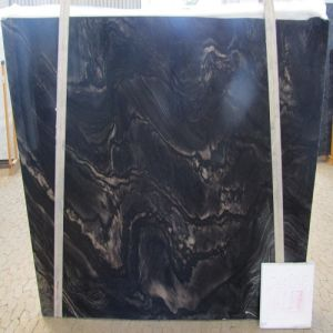 Imported/High-Quality/Natural Black Marble Slab Black Fantasy for Luxury Decoration
