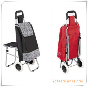 Two Wheels Shopping Trolley Bag with Chair for Promotional Gifts (HA82015) pictures & photos