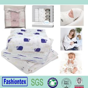 Muslin Swaddle Blankets Baby Patterned Muslin Fabric pictures & photos