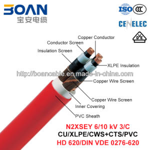 N2xsey, Power Cable, 6/10 Kv, 3/C, Cu/XLPE/Cws/PVC (DIN VDE 0276-620) pictures & photos