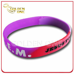 Fashion Custom Segmented Concave Logo Silicon Bracelet pictures & photos