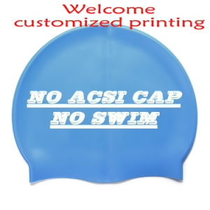 Customized Printing Logo Silicone Swimming Cap with Lowest Price pictures & photos