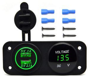DC 12V - 24V LED Digital USB Voltmeter + Dual USB Power Socket Panel 2.1A/1A USB Charger for Car Boat Marine pictures & photos