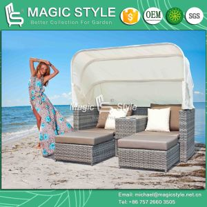 Multi-Functional Patio Daybed with Umbrella Deck 2-Seater Bed Patio Wicker Sun Bed (Magic Style) pictures & photos