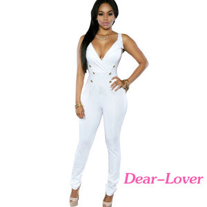 White Sexy Sleeveless Button Sides Bodycon Jumpsuit pictures & photos