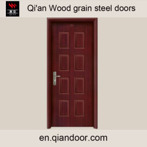 Heat Transfer Printed Black Walnut Steel Front Door pictures & photos