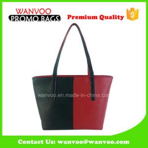 Hot Sale Big Size PU Wearable Black-Red Shoulder Handbag pictures & photos