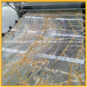Polished Natural Italy Golden/Blue Stone Marble Slab for Countertop pictures & photos