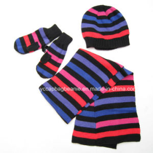 100%Acrylic Fashion Children Hat Scarf Glove Sets pictures & photos