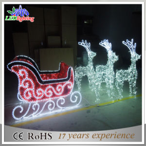 Outdoor Xmas Decorative Sleigh and Reindeer Decoration LED Christmas Light pictures & photos