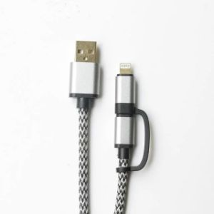 1m Braided 2 in 1 USB Cable for iPhone/Micro pictures & photos