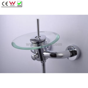 Round Glass Spout Waterfall Wall Mounted Bath Tap Faucet (QH0811W) pictures & photos