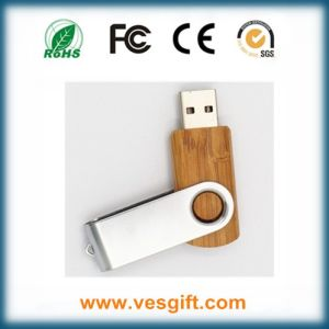 Wood Body+Metal Clip Swivel USB Flash Stick Flash Memory Disk pictures & photos