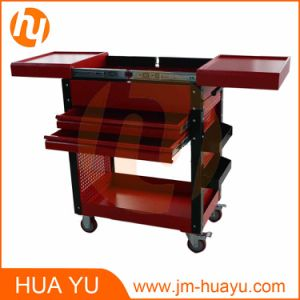 Two Drawers Black Steel Sliding Top Panels Tool Cabinet Service Cart in Garage and Factory pictures & photos