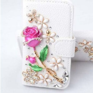 Wallet Flip Stand Bling Crystal Diamonds Leather Phone Case Cover for Samsung Phones