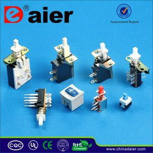 PCB & Solder Dpdt Latching Push Button Micro Switch (KZJ2X2-A) pictures & photos
