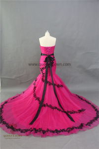 Hot Selling High-Grade Big Trailing Tulle Rose Top Wedding Dress pictures & photos