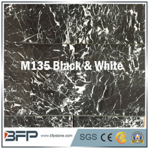 Chinese Black & White Flower Marble Tile with 10mm Thickness for Distributing pictures & photos