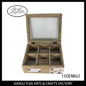 Pull out Wooden Jewelry Box with Glass Lid for Home Decoration pictures & photos