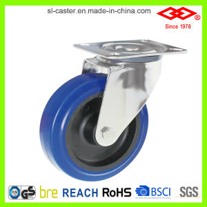 125mm Swivel Plate Blue Elastic Rubber Caster (P104-23D125X36) pictures & photos