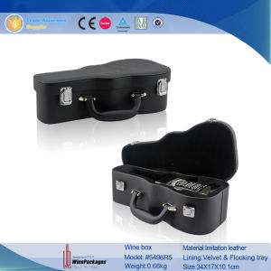 Portable Custom Violin Shaped Novelty Leather Wine Box (5496R5) pictures & photos