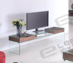 2015 Modern Design Hot Bent Clear Glass TV Stand with MDF Drawers pictures & photos