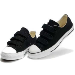 High Quality Wholesale Elegant Cheap Hook & Loop Style Navy Canvas Shoes pictures & photos