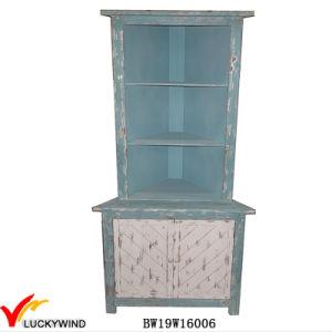 Unique Design Antique Blue Tall Wooden Corner Cabinet pictures & photos
