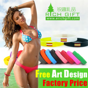 Factory Wholesale Whrite Free Sample Silicone Wristband pictures & photos