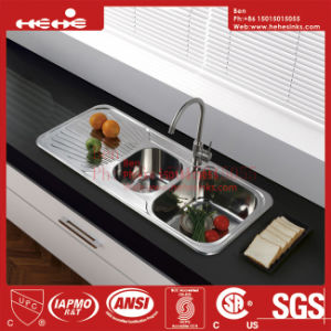 Top Mount Double Bowl Drain Board Kitchen Sink with Cupc Approved pictures & photos