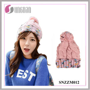 Winter Rainbow Sweet Girls Wool with Velvet Knitted Hat (SNZZM012) pictures & photos