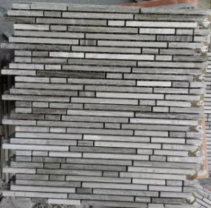 Linear Mosaic Tile Gray Marble Stone Mosaic (HSM218) pictures & photos
