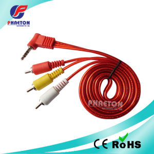 Audio Video Cable 3RCA to 3.5mm 4c Angled Stereo Cable pictures & photos
