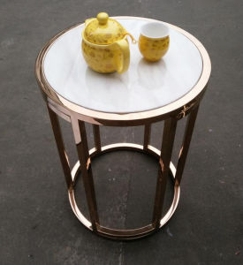 Beautiful Rose Golden Marble Round Coffee Table (CCT-030)