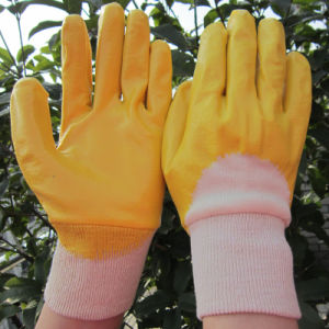 Yellow Nitrile Fully Dipped Gloves Labor Protective Safety Work Glove pictures & photos