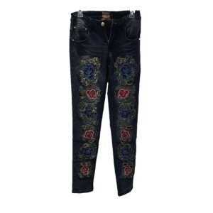 Hand Washed Embroidery Denim Pants Jeans