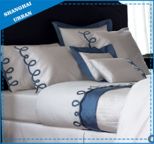 Blue Italic Embroidery 300tc Cotton Bedsheet Set pictures & photos