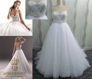Heavily Crystals Beaded Wedding Dress pictures & photos