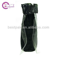 Custom Lined Organza Black Velvet Wine Bag