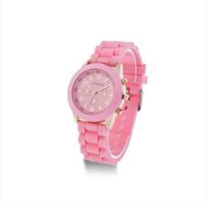 Hotsale Pink Color Silicone Wristband Jelly Watch for Promotional pictures & photos