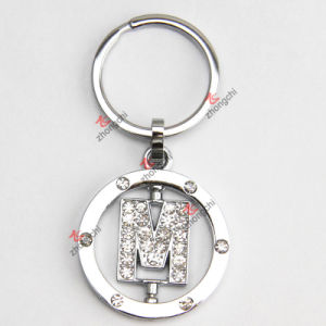 Rotating Letter M Rhinestone Metal Keychain pictures & photos