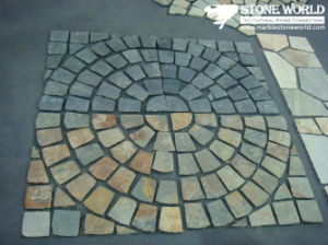 Mesh Yellow Grey Flagstone Mosaic Tiles for Wall/Flooring (mm085) pictures & photos