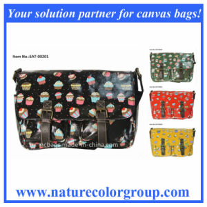 Cupcake Print Single Shoulder Satchel Handbag with PVC Coating (SAT-002) pictures & photos