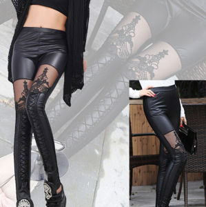 2016 New Designed Fashion Stitching Lace Slim Leather Pants (20201) pictures & photos