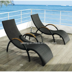 Hot Selling Double Recliner Chaise Outdoor Rattan Furniture Lounge with Teak Armrest pictures & photos